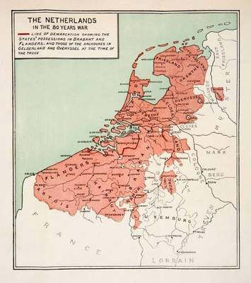 1900 Print Map Netherlands Eighty Years War Europe Flanders Holland Friesland | eBay $34.95