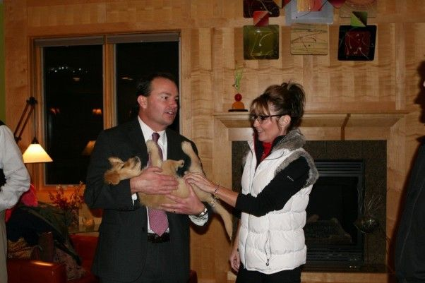 11/08/13: Sen. Mike Lee (R-Utah) and former Gov. Sarah Palin of Alaska were guests at a Puppy Jake Foundation pre-Veterans' Day reception Friday evening at the home of Robin and Dave Lickteig in Cumming on Friday night. Lee and Palin are in Iowa to speak at the Iowa Faith and Freedom Coalition's 13th Annual Friends of the Family Banquet Saturday night... http://theiowarepublican.com/2013/sarah-pailin-and-sen-mike-lee-take-time-to-visit-service-dog-trainers-while-in-iowa/