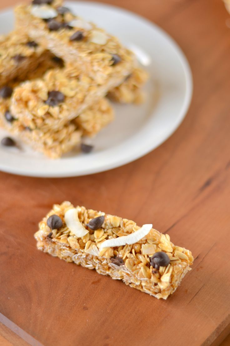 No Bake Chewy Coconut Chocolate Chip Granola Bars - Dairy Free