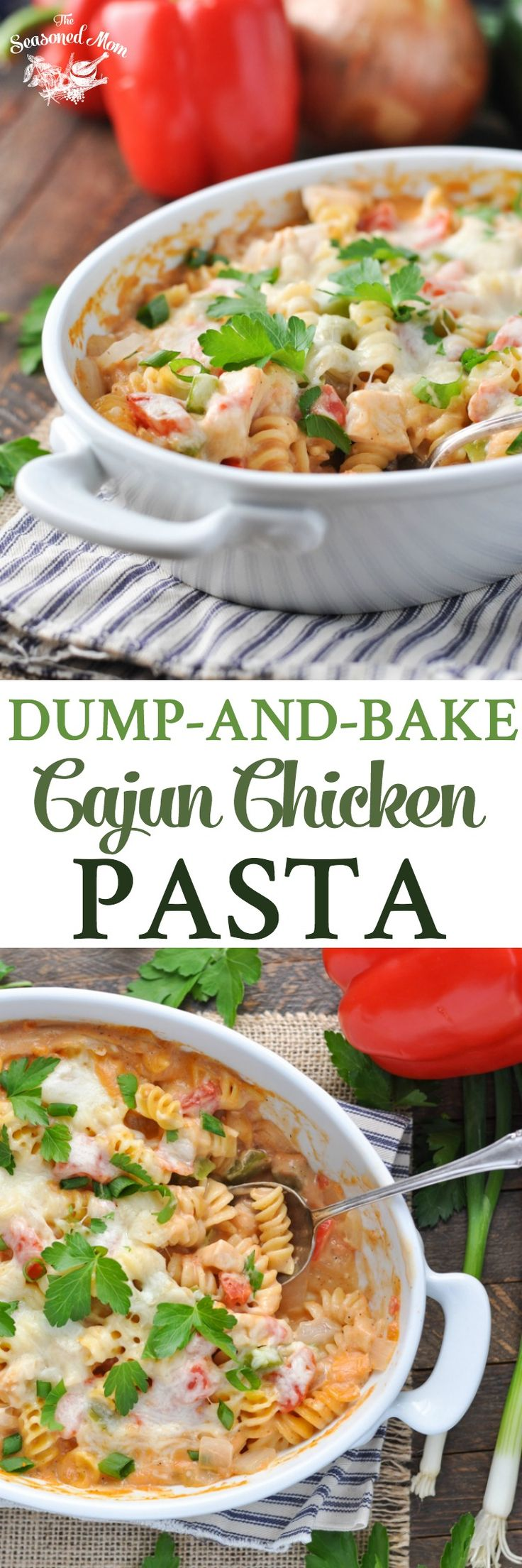 Dump-and-Bake Cajun Chicken Pasta! Easy Dinner Recipes | Dinner Ideas | Chicken Recipes | Pasta Recipes | Casserole Recipes | Casserole Dinners