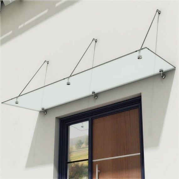 Brushed Stainless Steel Modern Rods Poles Laminated Tempered Glass Door Window Awning Shelter Patio Porch Canopy Hardware Kit No Glass Porch Canopy Over Door Canopy Door Canopy