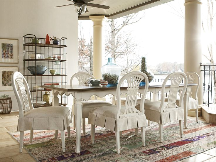 universal furniture cordevalle kitchen table features a two toned blanc finish with heirloom top