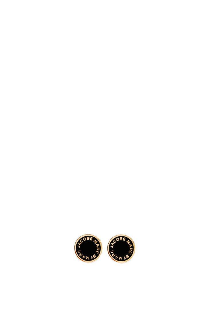 Örhänge Enamel Logo Disc Studs BLACK/GOLD - Marc by Marc Jacobs - Designers - Raglady