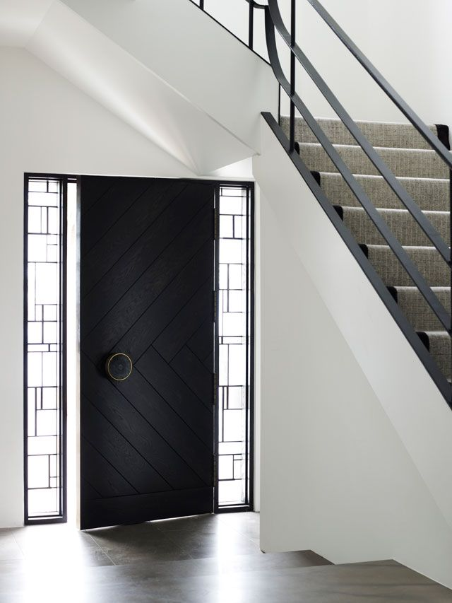 *entryway, black door, stairs, interior design, modern* - middle park house