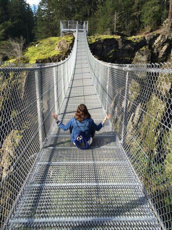 Elk Falls Suspension Bridge in Comox Valley, Vancouver Island, Canada