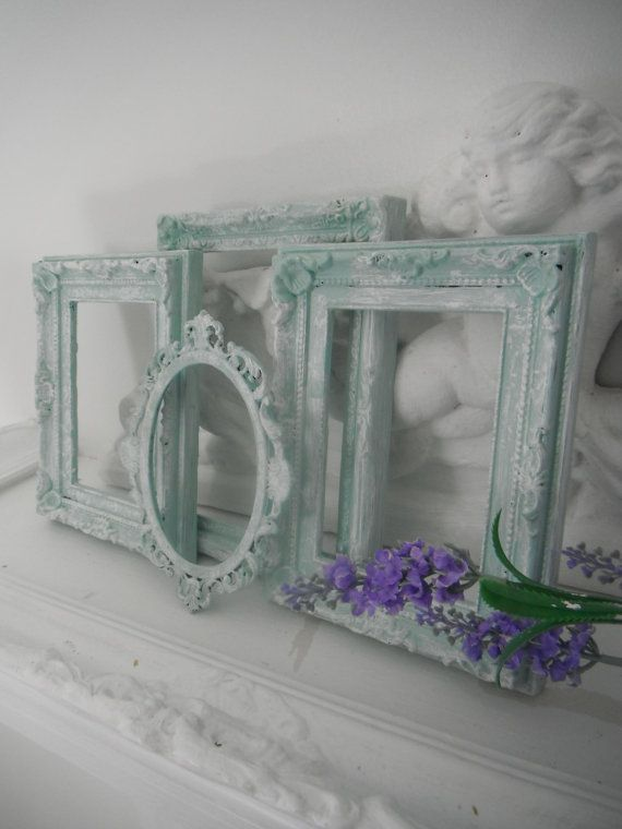 seafoam green antiqued picture frames beach cottage decor shabby chic
