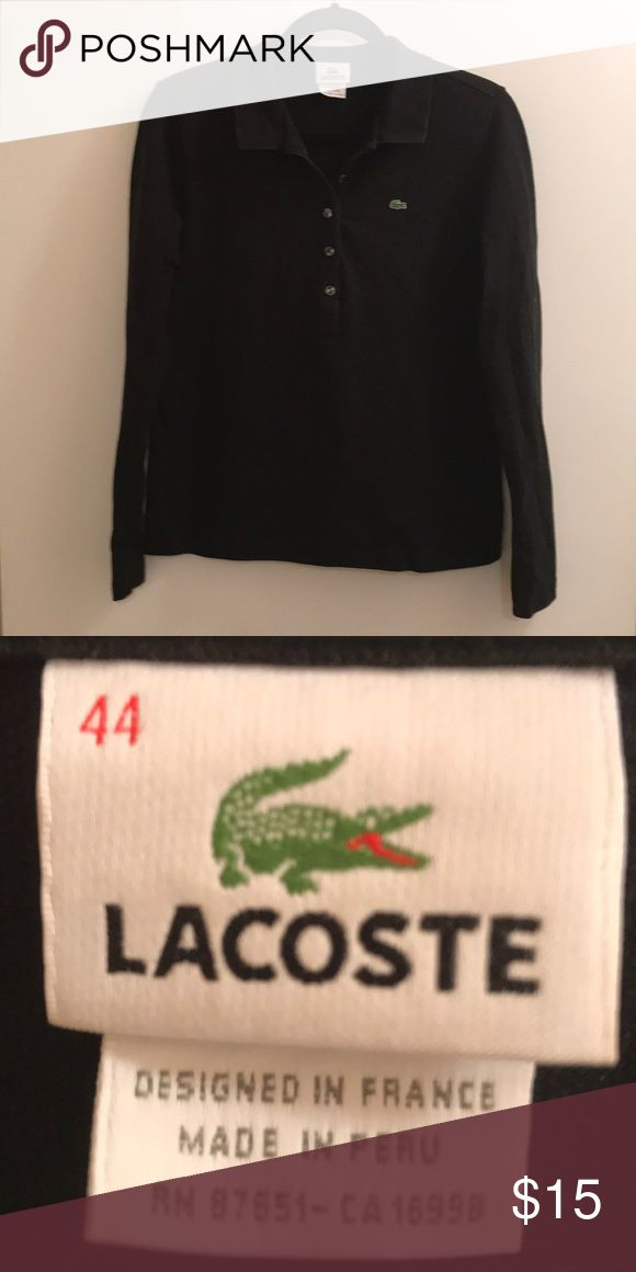 Black Lacoste Polo Long sleeve Lacoste knot polo shirt.  This is a fitted top. Lacoste Tops Tees - Long Sleeve