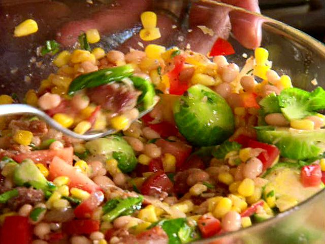 Roasted Corn and Brussels Sprouts Succotash Recipe : Aaron McCargo Jr. : Food Network