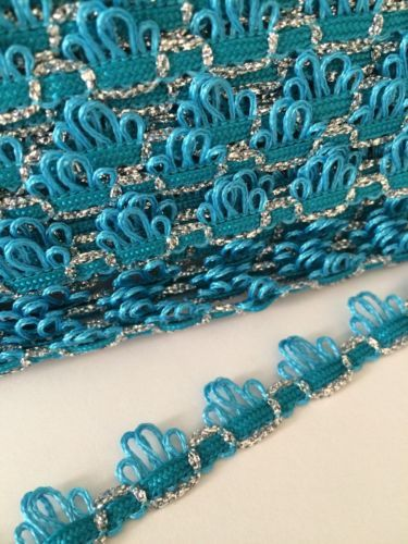 Turquoise-Blue-Silver-Sparkle-Braid-Trim-15mm-By-The-Meter