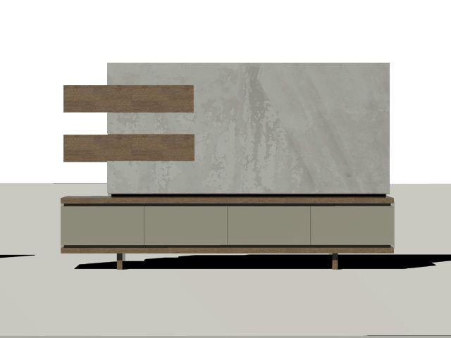 Mueble para televisión. Wood and custom wall paper