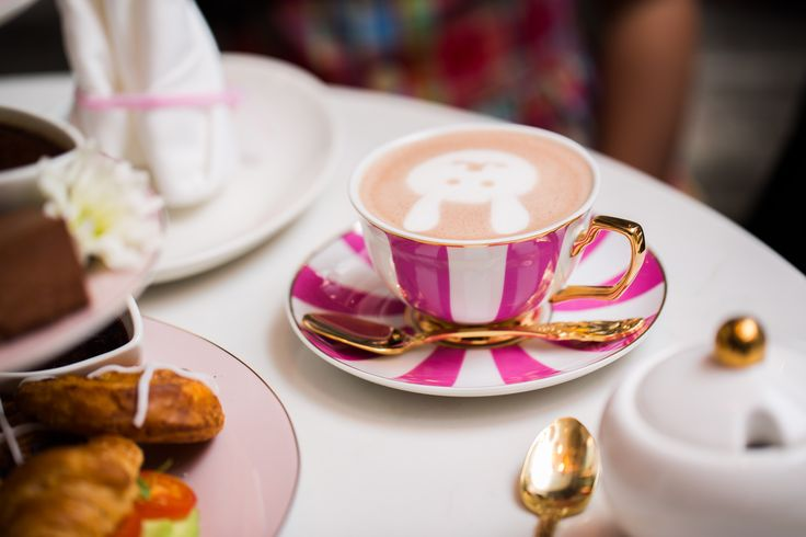 Easter themed High Tea, featuring bunny hot chocolates.