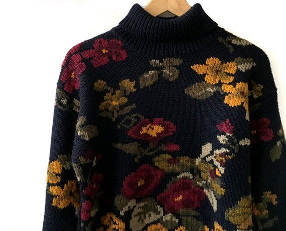 Vintage, Super Soft, Floral Motif, Turtle-Neck, Drop-Shoulder, Cuff-Sleeve, Knit, Sweater