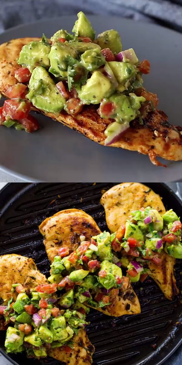 Healthy Cilantro Lime grilled chicken topped with fresh avocado salsa making this dish a DELICIOUS low-carb & Keto Dinner in under 30 minutes! recipes for dinner healthy videos Grilled Chicken with Avocado Salsa (Keto) Good Healthy Recipes, Healthy Meal Prep, Healthy Cooking, Healthy Snacks, Cooking Recipes, Keto Recipes, Healthy Avocado Recipes, Healthy Low Carb Meals, Dinner Ideas Healthy