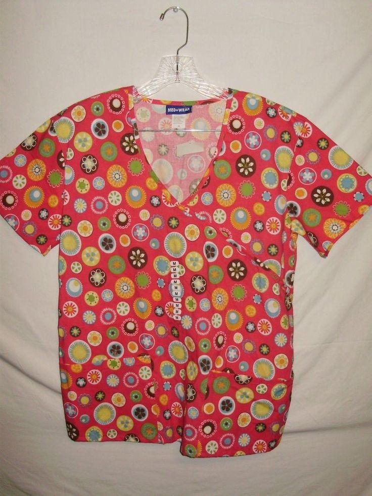 Med + Wear Womens Scrub Top Size M Pink Green Blue Orange Geometric Pattern A32 #MedWear