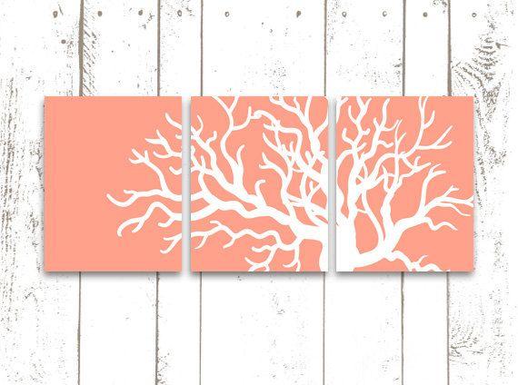 Coral Art Print, Beach Art Print, Set of Three 8x10 or 11x14 Inch Prints, Coral Home Decor, Modern Art
