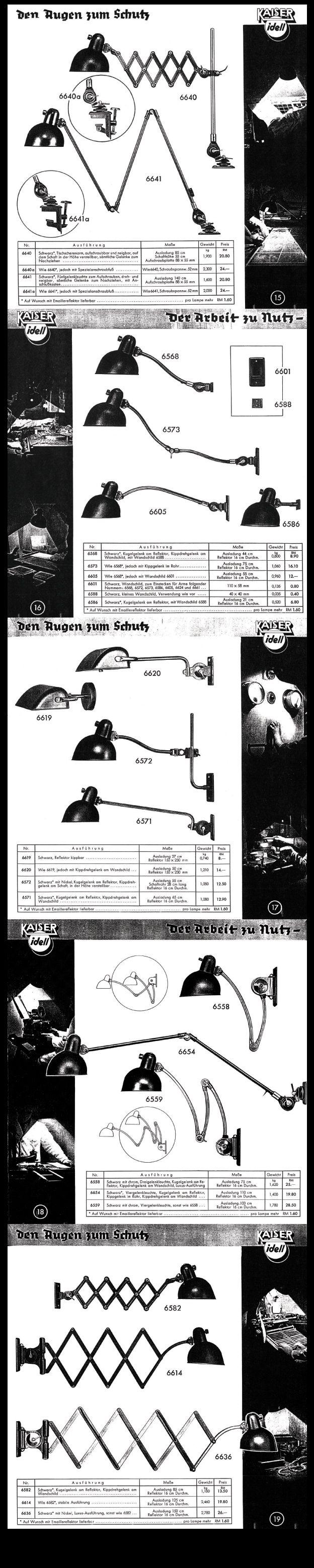Rare Kaiser & Co. Work Lamp Catalogue 1936 - Pages 15 to 19 #KaiserIdell #Kaiser_Idell #ChristianDell #Bauhaus #Modernism #Modernist #Molecula