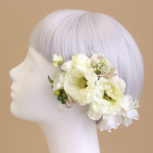 トルコキキョウの花言葉は「永遠の愛」「優美」「希望」。 この花言葉に憧れ、トルコキキョウをブーケに選ぶ花嫁様も多いとか。 すがすがしく繊細な大人色であしらった、ヘアピックタイプの髪飾りセットです。 クリーム トルコキキョウ 髪飾り5本セット/アーティフィシャルフラワー(造花)