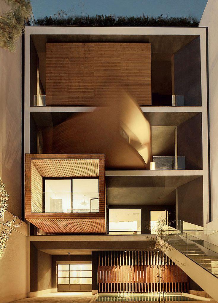 Huse i Tehran med 90 graders roterende rum. Smuk og funktionel arkitektur /CS