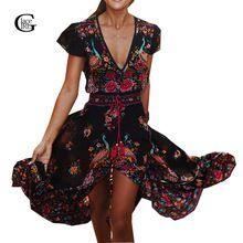 Lacegirl 2017 Платье Долго Цветок Dress Ретро Богемной Макси Dress Sexy Этническая V-образным Вырезом Цветочный Принт Пляжные Платья Boho Хиппи Халат(China (Mainland))