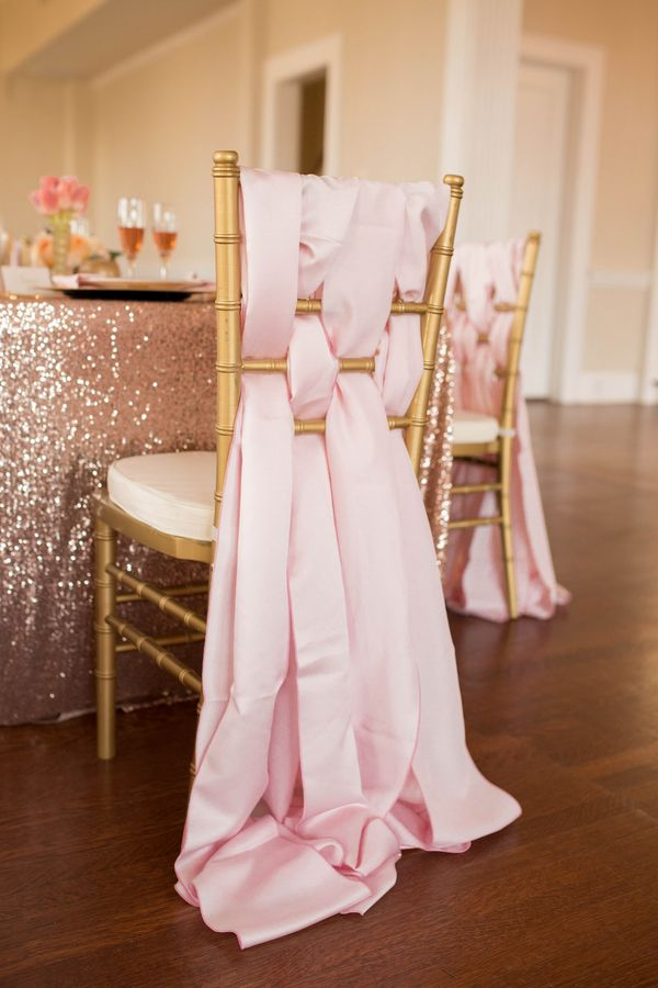 What a party chair, so soft and elegant.   Modern & Elegant Mint, Coral, Blush, and Gold | Wedding Colors