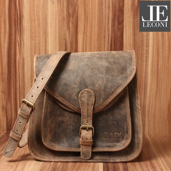 Ledertaschen - LECONI Ledertasche vintage Umhängetasche braun - ein Designerstück von LECONI bei DaWanda