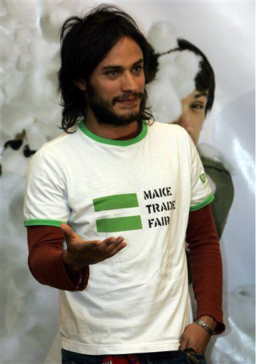 """Gael Garcia Bernal rocking a """"Make Trade Fair"""" shirt. Another Latino advocating for the fair and ethical treatment of our ppl makes me smile...and Gael in general makes me smile."""