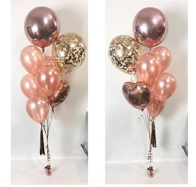 "All about the Rose Gold! Pictured are the shiny Orbz, 16"" diamond clear latex with confetti, 11"" latex and 18"" heart foil. Oh and a tassel towards the bottom. Take your pic for your fave or just get them all!!"