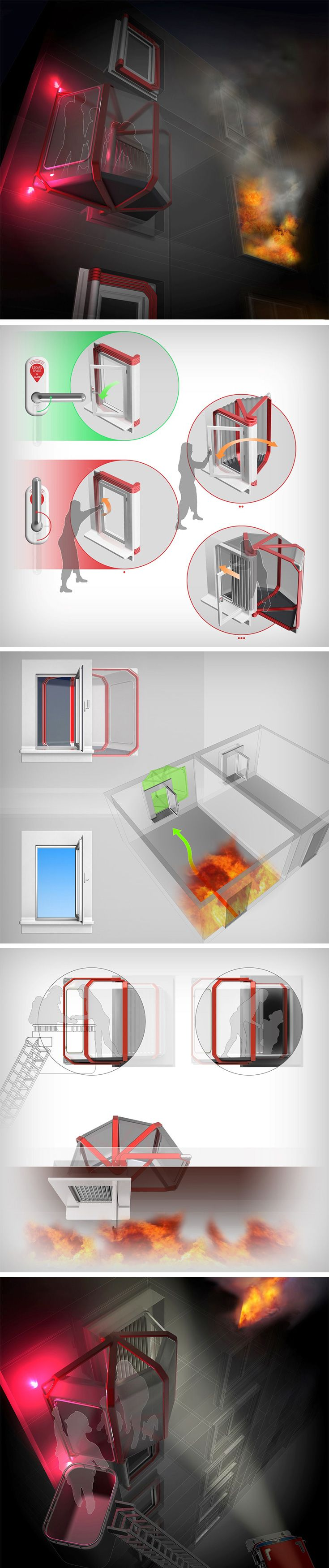 The X-Space should be developed as a mandatory addition to every home. It forms a robust and safe bubble outside the building during a fire. Occupying the space of a window when closed, the X-Space works like an ordinary window when needed, but in the case of an emergency, can be opened out like a bellow into a safe, fire-retardant personal space.