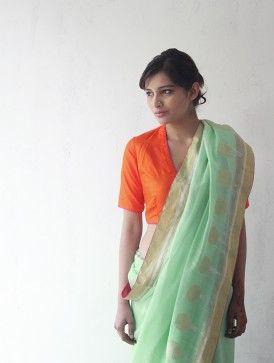 Mint Chanderi  Zari Marigold Saree