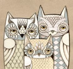 If you love OWLS here is a treat for you ! The artist shares a free calendar too ! KOOT , KOOT !!