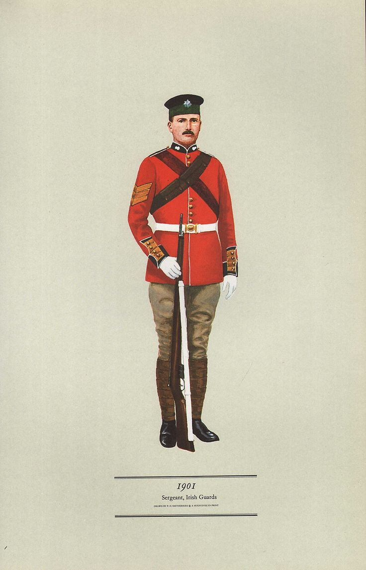 VINTAGE MILITARY BRITISH INFANTRY UNIFORM PRINT ~ 1901 SERGEANT IRISH GUARDS | eBay