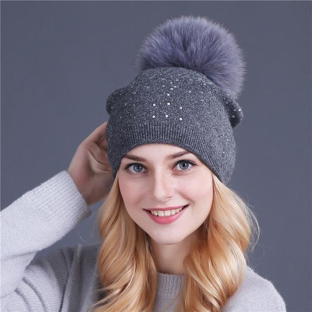 7f719689c0e Women Winter Pom Pom Rhinestone Cap ~ Fur Wool Knitted Beanie in 2019