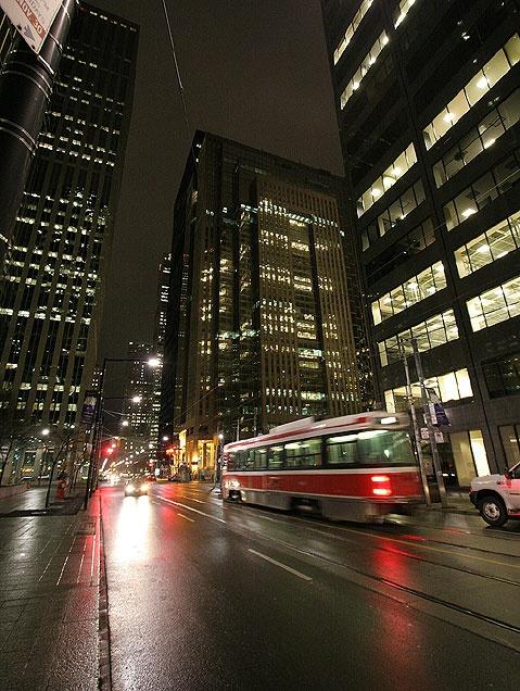 Toronto, Ontario, Canada streetcar at night.