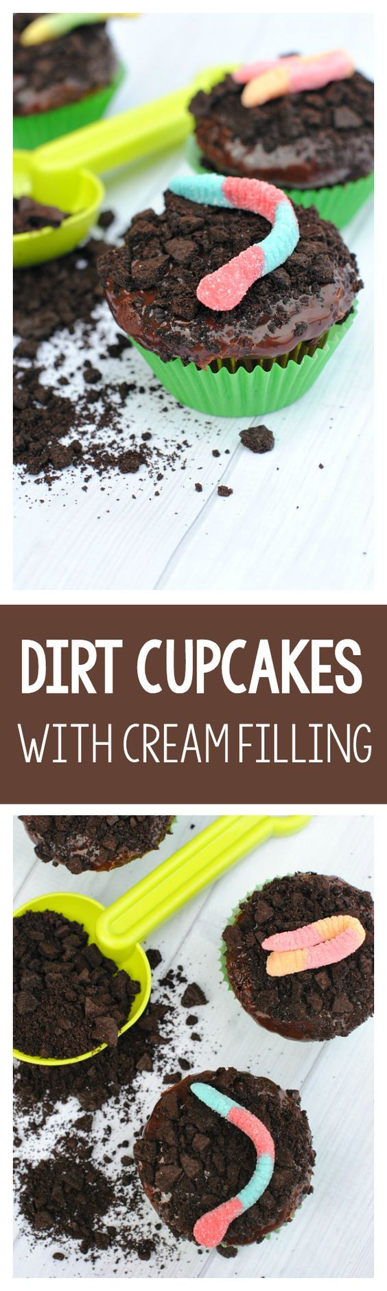 Dirt Cupcakes with Chocolate Ganache and Cream Filling. Yum!