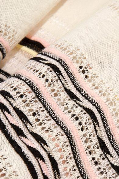 Maje   Fringed pointelle-knit cotton-blend poncho   NET-A-PORTER.COM