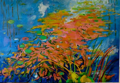 Blue Pond Pink Weed & Cloud 90 X 130 SOLD