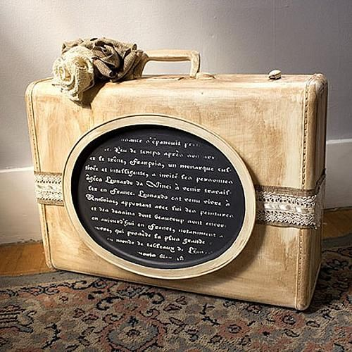 Distressed Vintage Suitcase -- Distress a vintage suitcase to add old-fashioned charm. LOVE!