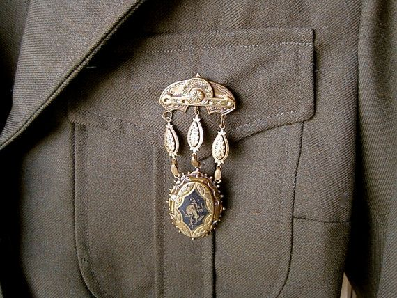 STEAMPUNK Military Antique Victorian Enameled by MyWanderingEye, $88.00