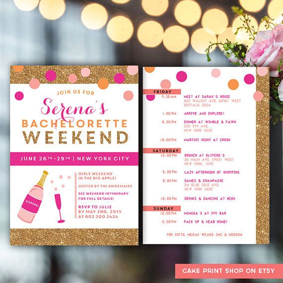 Bachelorette Itinerary Bachelorette invite with by CakePrintShop