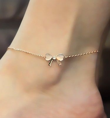 Golden Bow Anklet With Rhinestones.  Nice for this Spring/Summer season ...