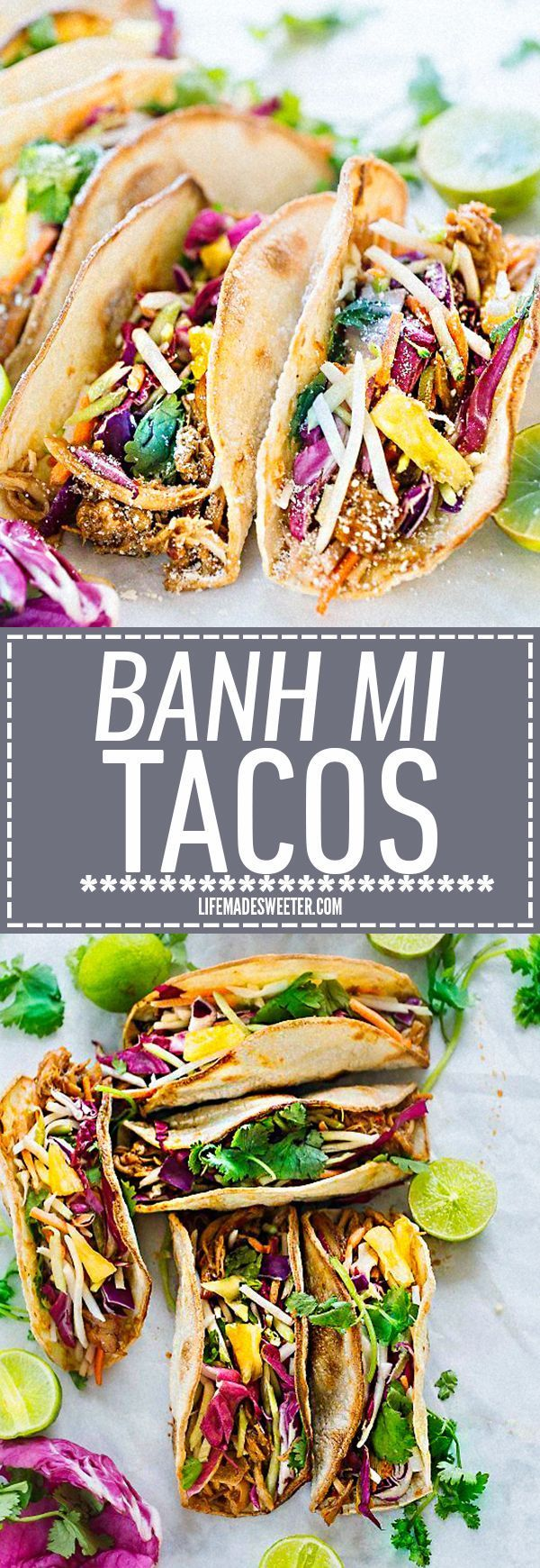 This recipe for Tropical Bahn Mi Tacos make a fun and easy meal for Cinco de Mayo or Taco Tuesday! Filled with a flavorful Asian-styled pulled pork, pickled vegetables, sweet pineapples and a splash o (East Mexican Recipes)