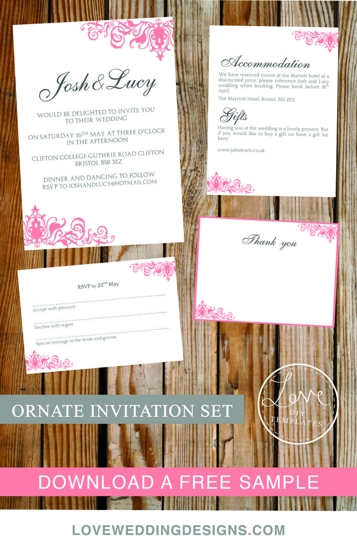 Wedding invitations wedding invitation purple gold ornate - Diy Printable Wedding Invitation Set Including Invite Rsvp Info Card And Thank You Card