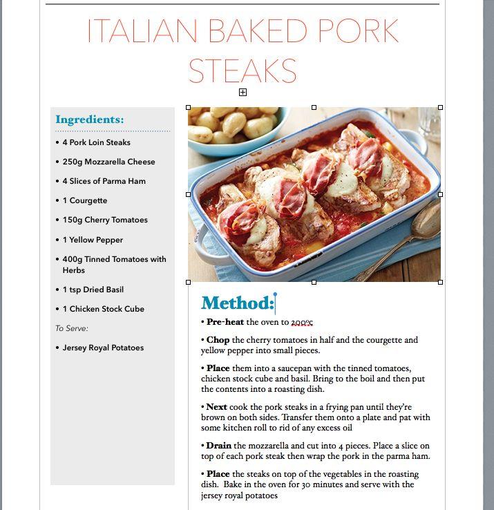 Italian baked pork steaks recipe
