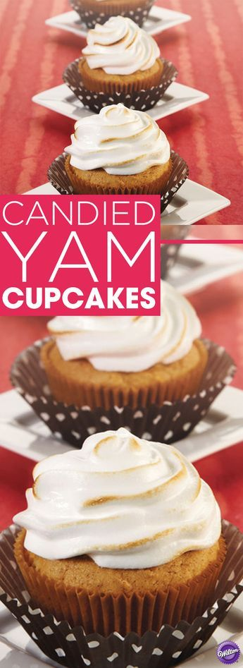 Candied Yam Cupcakes Recipe - Bake up a batch of candied yam cupcakes anytime! All the hearty spiced goodness is here with sweet potatoes, nutmeg, pecans and marshmallow crème blending for a memorable taste sensation. Makes 24 cupcakes.