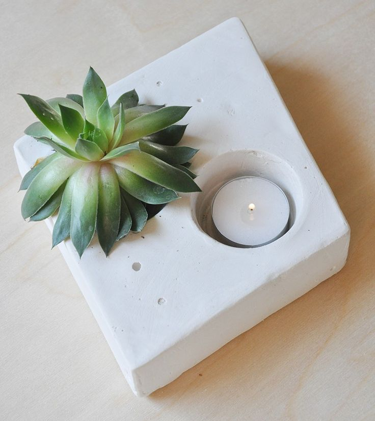 Plaster of paris succulent holder with tea light, perfect for your centerpiece!