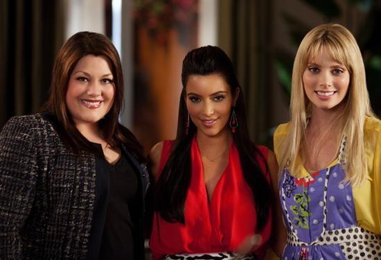 Brooke Elliott, Kim Kardashian and April Bowlby on the #DropDeadDiva set #Diva