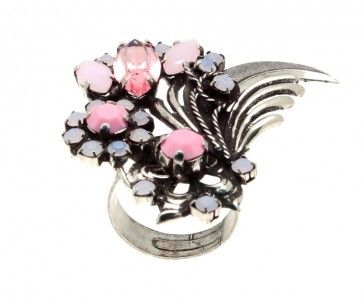 """""""Zamioculcas"""" - Handmade antique metal plated ring with pink Swarovski strasses, by Art Wear Dimitriadis"""