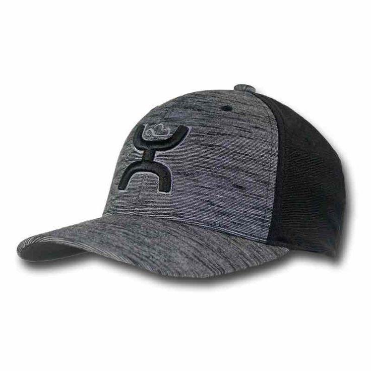 "Hooey Men's ""Ash"" Black/Grey FlexFit Ball Cap Hat 1731BK"