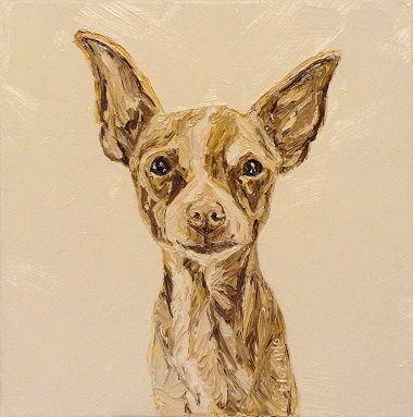 www.oldiart.com Taco Millan  chihuahua, chiwawa 30x30cm oil canvas