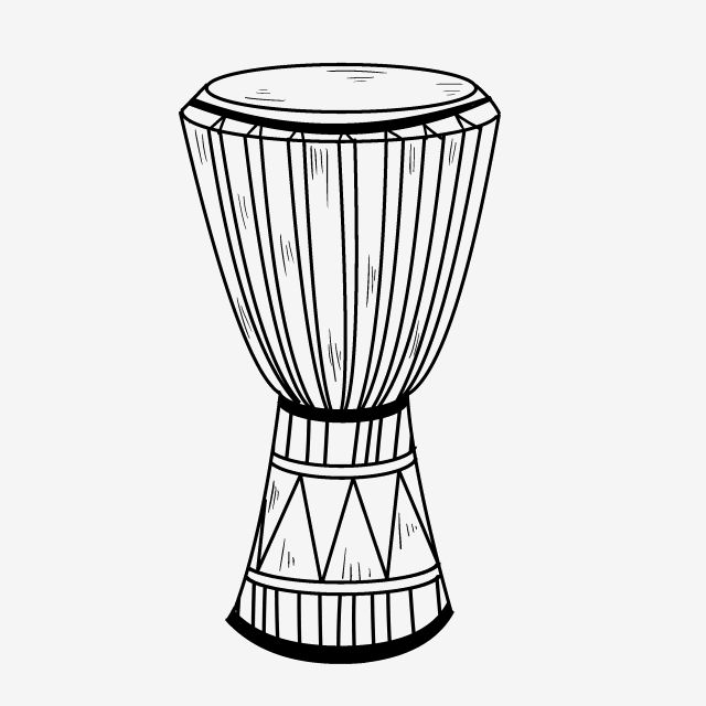 Traditional Rhythm Instrument African Drum Line Drawing Drum